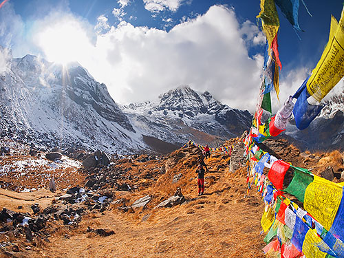 Tibetan Flags At Annapurna Base Camp 4200M Himalaya Nepal